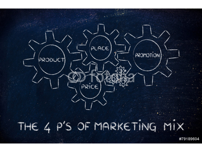 The 4 P's of marketing mix: produt, price, place, promotion 64238