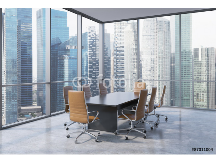 Fotomural decorativo Panoramic conference room in modern office in Singapore. Brown chairs and a black table. 3D rendering. 64238