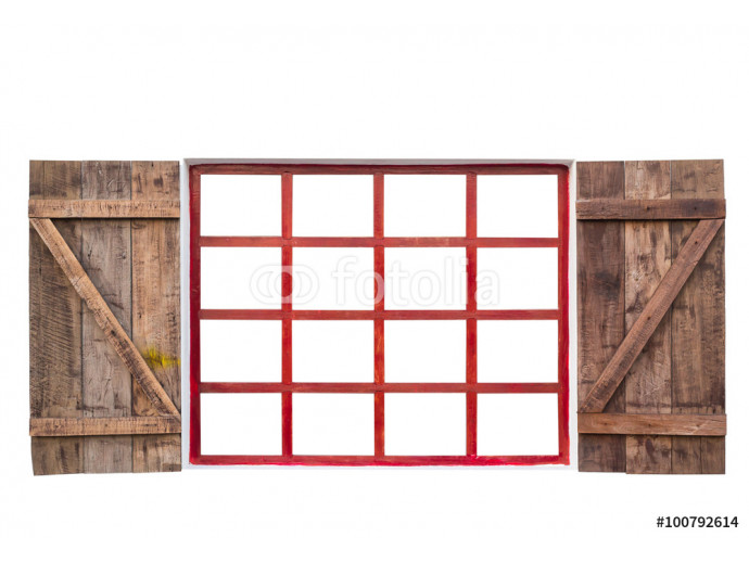 wood window isolated on white background with clipping path 64238