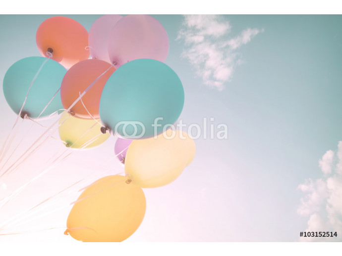 Colorful balloons in summer holidays. Pastel color filter 64238