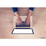 Man's hands using laptop with blank screen in home interior. - Top View 64238