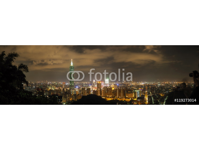 Taipei night skyline panorama, view from the Elephant mountain 64238