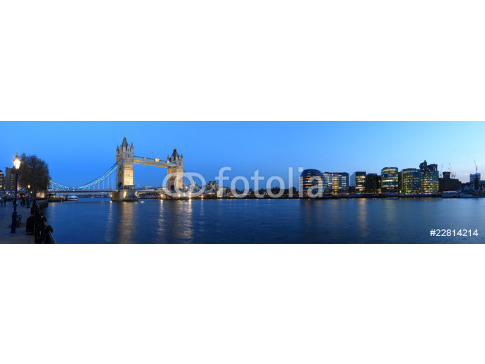Tower Bridge and the Thames panoramic view about London at night 64238