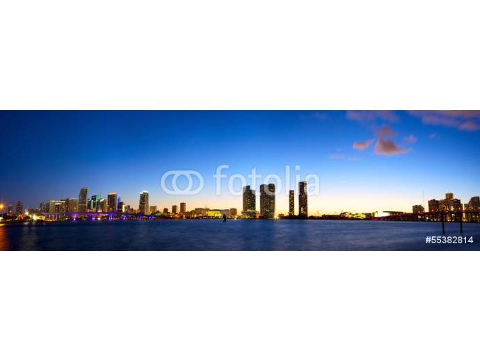 Downtown Miami skyline panorama and Biscayne Bay at dusk 64238