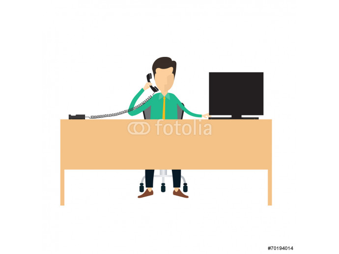 Business man call center information connection vector 64238