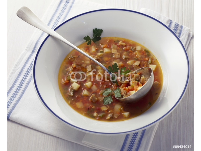 Bow of Manhattan Chowder; Cloth Napkin and Spoon 64238