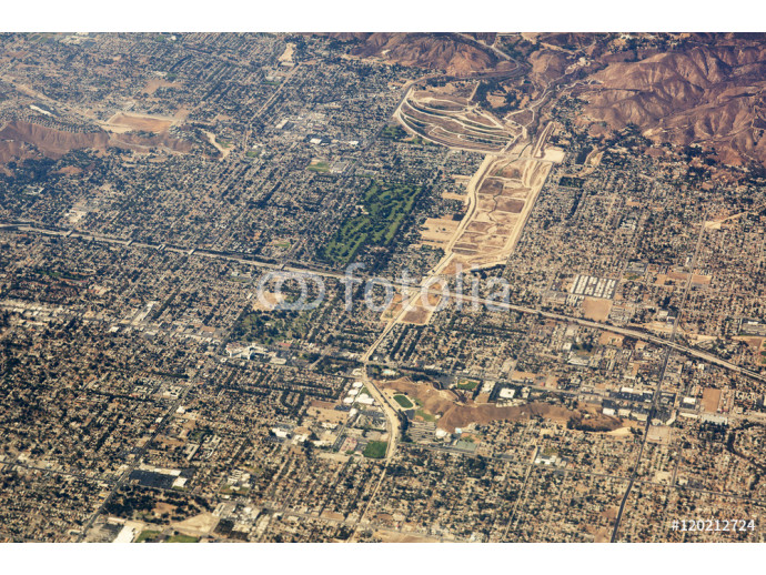 Aerial view of Los Angeles in the United States. Part of the city located near the foothills of Santa Monica mountains, landscape. 64238