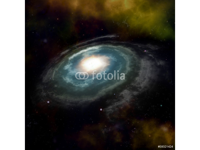 Spiral galaxy against black space and stars in deep outer space 64238