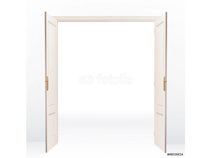 Vliestapete Realistic open door on white background. Vector design.  64238