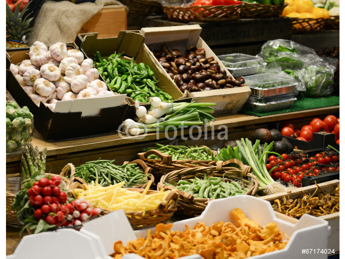 Fruit market with various colorful fresh fruits and vegetables - 64238
