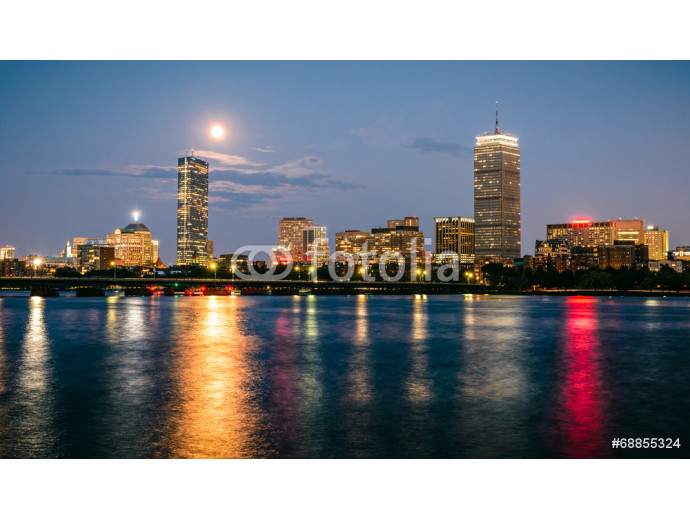 Boston skyline at night with the super moon above. 64238