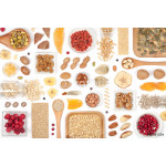 nuts and dried fruits on white background 64238