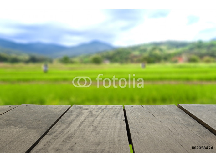 Defocus and blur image of terrace wood and scenery view of agric 64238
