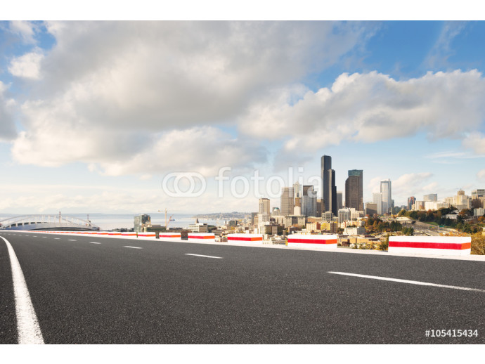 road with cityscape and skyline of seattle 64238