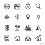 Map Icons and Location Icons with White Background 64238