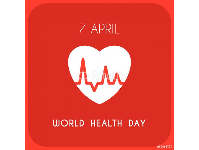 World Health Day Celebrating Card. Heart with Pulse 64238