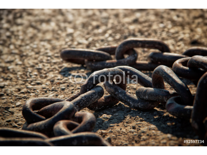 Rusty Metal Chain on Concrete Floor-Breaking Free Concept 64238