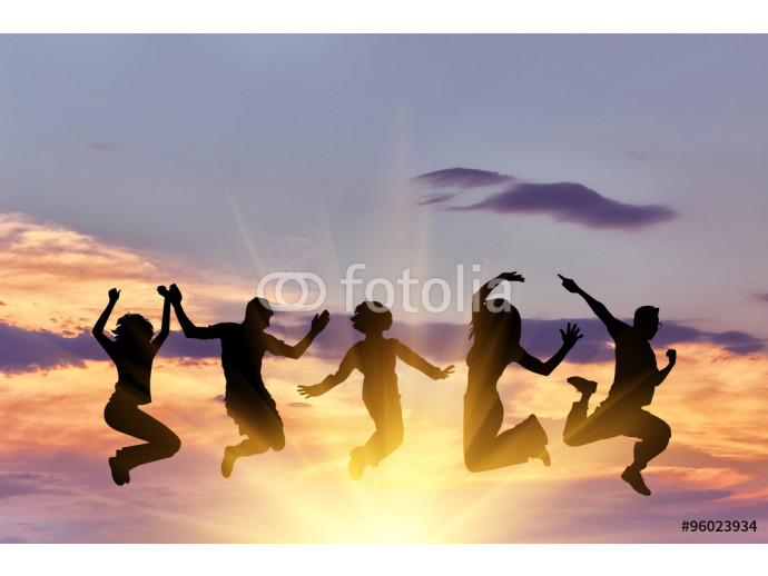 Silhouette of a happy group of people jumping 64238