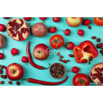 fruits and vegetables red flower scattered on blue wooden background 64238