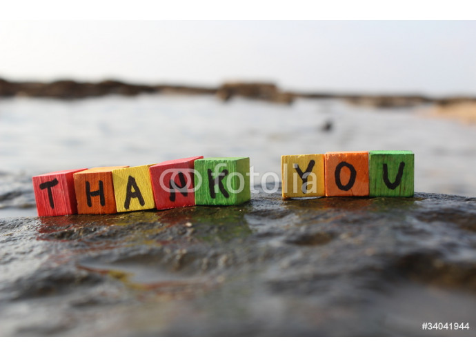 Thank you written with wood cubes, at a rocky beach 64238