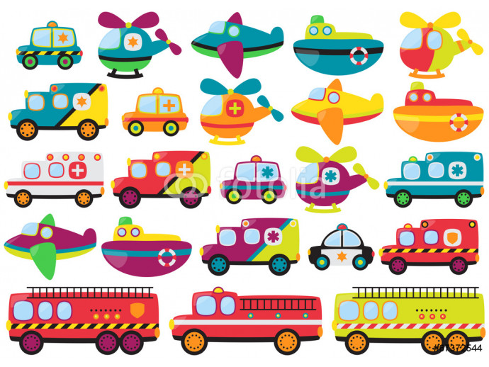 Fotomural decorativo Vector Collection of Cute or Retro Style Emergency Rescue Vehicl 64238