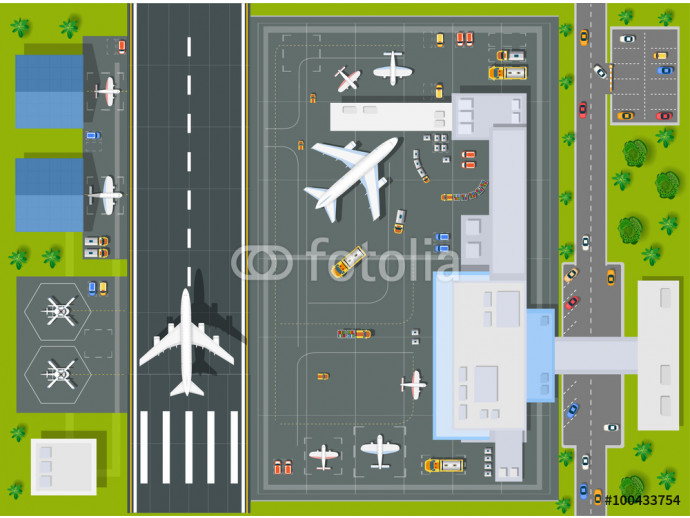 Overhead   point of view airport with all the buildings, planes, vehicles and airport runway 64238