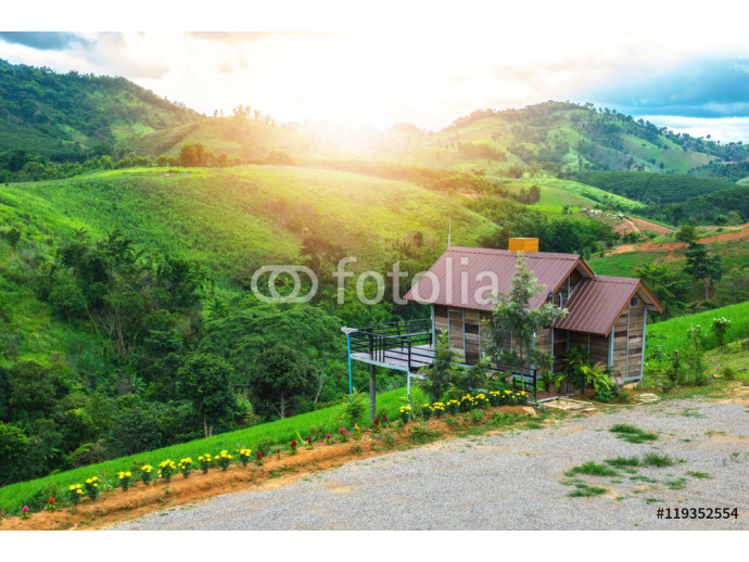 Home foothill with beautiful green nature of meadows, forests and mountains. 64238