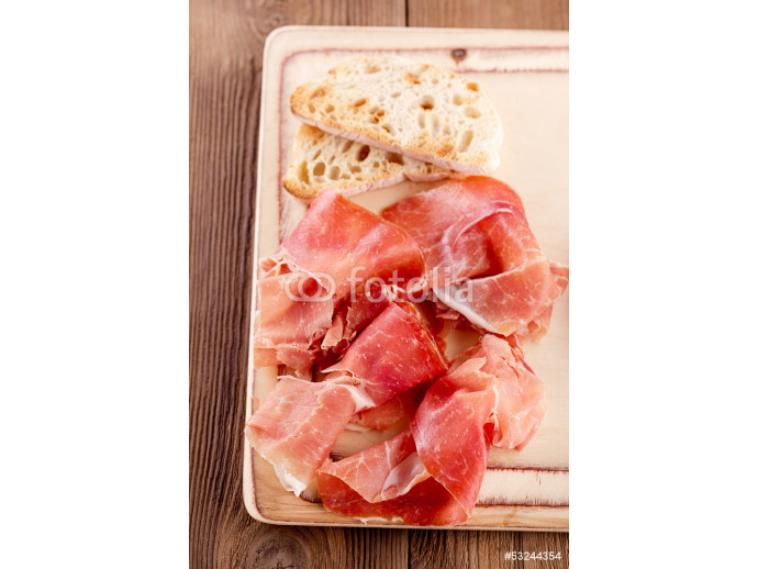 Platter of serrano jamon Cured Meat and ciabatta 64238