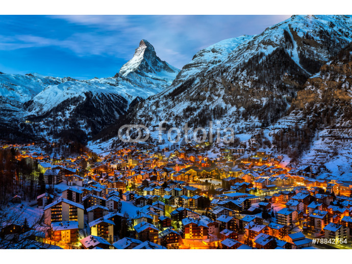 Aerial View on Zermatt Valley and Matterhorn Peak at Dawn, Switz 64238