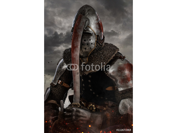 Knight with sword in battlefield. 64238