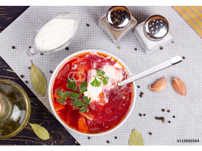 Borsch. Traditional Russian and Ukrainian vegetable soup. Top vi 64238