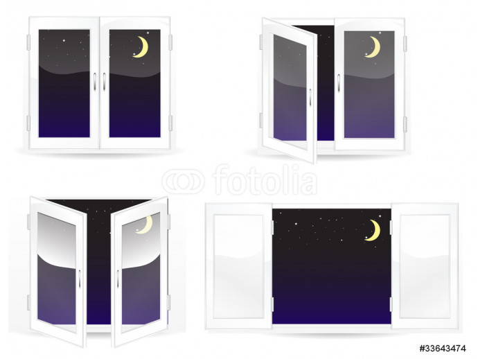 set of windows with star and moon isolated on white 64238