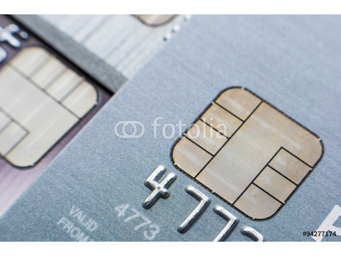Credit cards with microchip, close up 64238