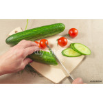 Woman's hands cutting vegetables on wooden  Board 64238
