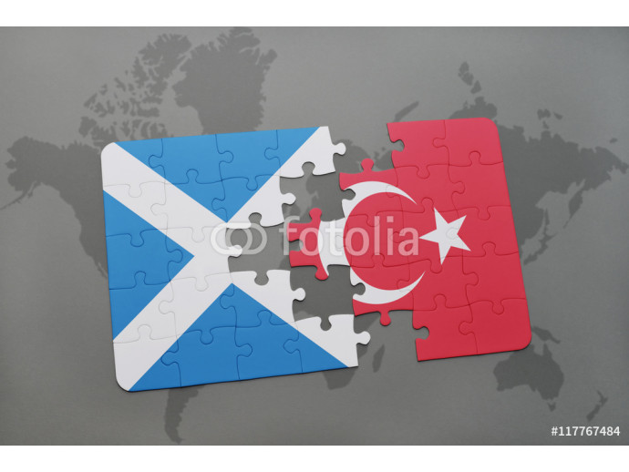 puzzle with the national flag of scotland and turkey on a world map background. 64238