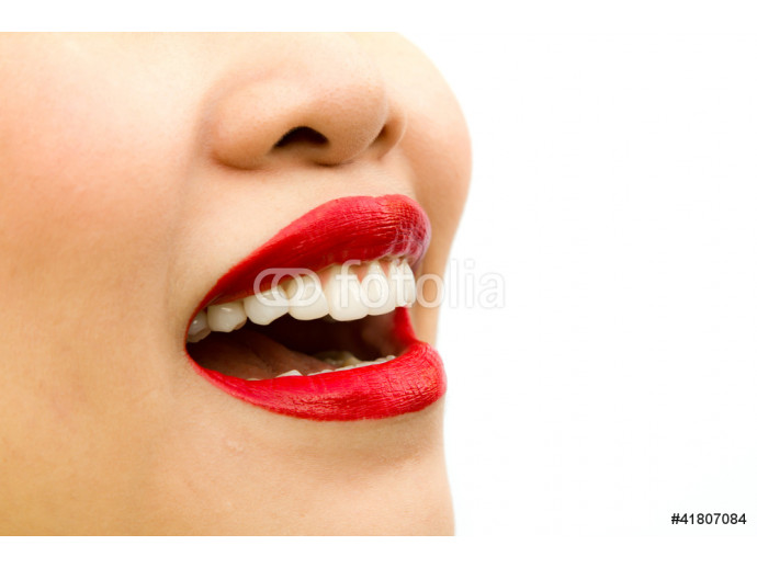Beautiful young woman teeth. Isolated over white background 64238