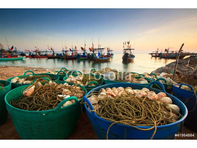 Fishing nets on the waterfront after fishing day. 64238