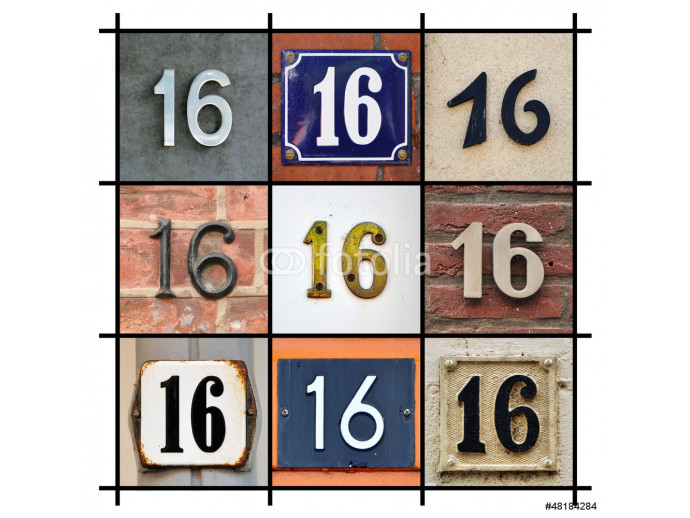 Collage of House Numbers Sixteen 64238