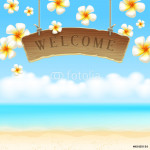 Wooden signboard Welcome & tropical flowers on beach 64238