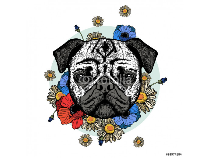 Graphically cute pug dog with flowers 64238