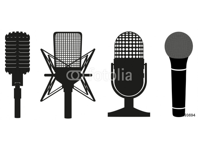 icon set of microphones black silhouette vector illustration 64238