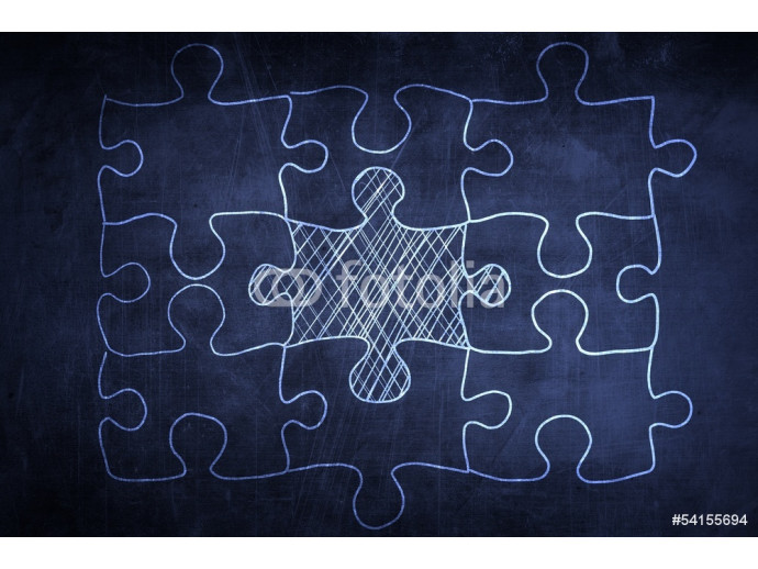 Concept puzzle sketch with missing piece 64238