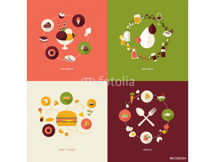 Set of flat design concept icons for restaurant, food and drink 64238