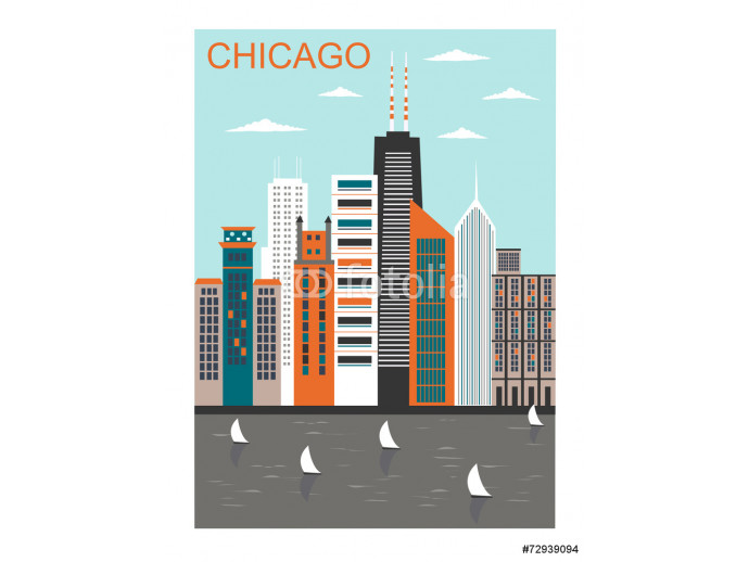 Stylized Chicago city. Vector 64238