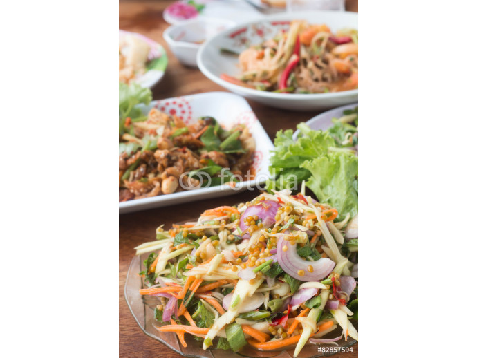 Herb salad with deep fried fish and shrimp (Thai fusion food) 64238