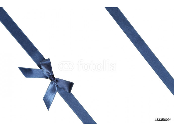 Blue ribbon with bow on white background 64238