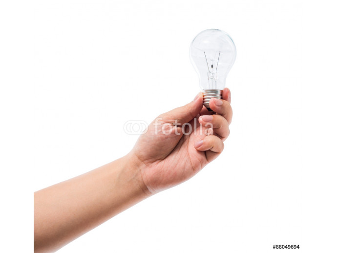 Hand holding an incandescent light bulb isolated on white backgr 64238