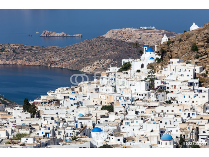 Aerial view of Chora town, Ios island, Cyclades, Aegean, Greece 64238