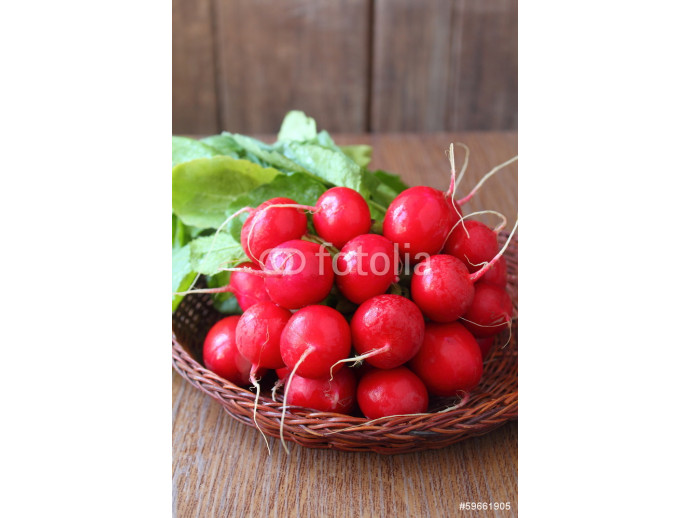 bunch of a red garden radish with green leaves 64238