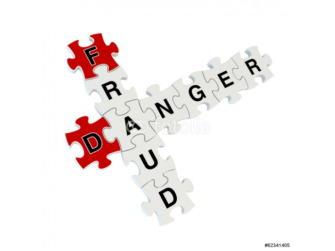 Fraud danger 3d puzzle on white background 64238